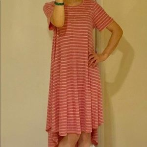 LuLaRoe Carly high low pink and heather gray dress